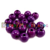 Bolsita 20 bolitas de madera antibaba 10 mm - Color Purpura 08