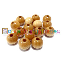 Bolsita 20 bolitas de madera antibaba 10 mm - Color Natural 09