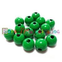 Bolsita 20 bolitas de madera antibaba 10 mm - Color Verde hierba 17X