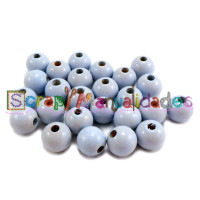 Bolsita 20 bolitas de madera antibaba 10 mm - Color Azul pastel 35