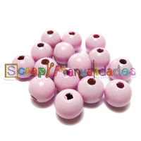 Bolsita 20 bolitas de madera antibaba 8 mm - Color Rosa bebe 02