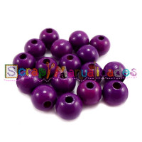 Bolsita 20 bolitas de madera antibaba 8 mm - Color Purpura 08