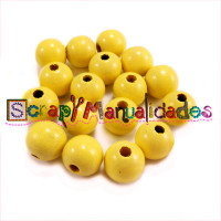 Bolsita 20 bolitas de madera antibaba 8 mm - Color Amarillo 11