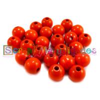 Bolsita 20 bolitas de madera antibaba 8 mm - Color Naranja 13