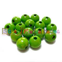 Bolsita 20 bolitas de madera antibaba 8 mm - Color Verde lima 16