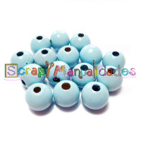 Bolsita 20 bolitas de madera antibaba 8 mm - Color Azul bebe 18