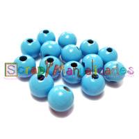 Bolsita 20 bolitas de madera antibaba 8 mm - Color Azul celeste 19