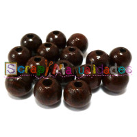 Bolsita 20 bolitas de madera antibaba 8 mm - Color Marron choc 23