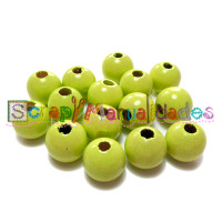 Bolsita 20 bolitas de madera antibaba 8 mm - Color Verde limon 26