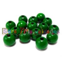 Bolsita 20 bolitas de madera antibaba 8 mm - Color Verde oscuro 29