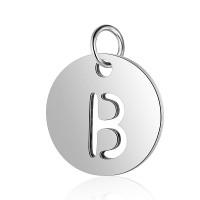 Moneda inicial letra B- Acero inoxidable plateado 12 mm con anilla
