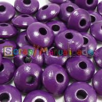 Bolsita 20 lentejas de madera 10x5 mm antibaba - Purpura 08
