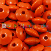 Bolsita 20 lentejas de madera 10x5 mm antibaba - Naranja 13