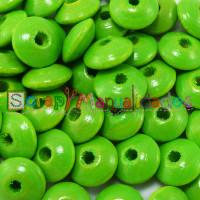 Bolsita 20 lentejas de madera 10x5 mm antibaba - Verde lima 16