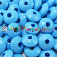 Bolsita 20 lentejas de madera 10x5 mm antibaba - Azul cielo 19