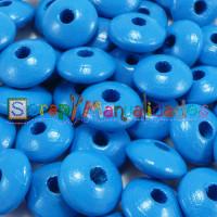 Bolsita 20 lentejas de madera 10x5 mm antibaba - Azul medio 20