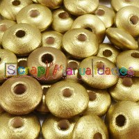 Bolsita 20 lentejas de madera 10x5 mm antibaba - Dorado  24