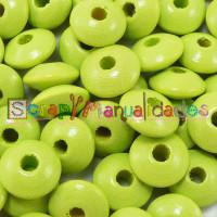 Bolsita 20 lentejas de madera 10x5 mm antibaba - Verde limon 26