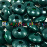 Bolsita 20 lentejas de madera 10x5 mm antibaba - Verde oscuro 29