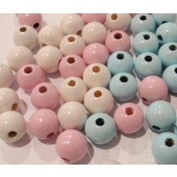 Bolita madera antibaba 8 mm - Blanco, rosa y azul bebe - 100 uds