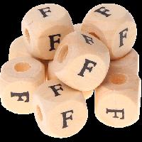 Cubo madera natural alfabeto 11x11 mm, letra F (calidad alemana)
