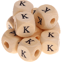Cubo madera natural alfabeto 11x11 mm, letra K (calidad alemana)