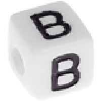Abalorios cubos blancos abecedario 10x10 mm- 1 Unidad -Letra B