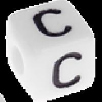 Abalorios cubos blancos abecedario 10x10 mm- 1 Unidad -Letra C