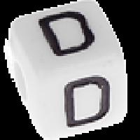 Abalorios cubos blancos abecedario 10x10 mm- 1 Unidad -Letra D