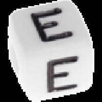 Abalorios cubos blancos abecedario 10x10 mm- 1 Unidad -Letra E