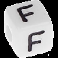 Abalorios cubos blancos abecedario 10x10 mm- 1 Unidad -Letra F