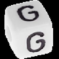 Abalorios cubos blancos abecedario 10x10 mm- 1 Unidad -Letra G