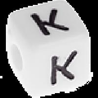 Abalorios cubos blancos abecedario 10x10 mm- 1 Unidad -Letra K
