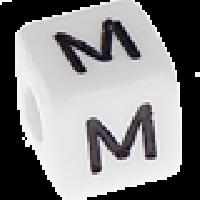 Abalorios cubos blancos abecedario 10x10 mm- 1 Unidad -Letra M