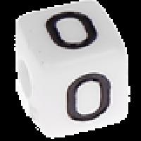Abalorios cubos blancos abecedario 10x10 mm- 1 Unidad -Letra O