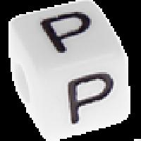 Abalorios cubos blancos abecedario 10x10 mm- 1 Unidad -Letra P
