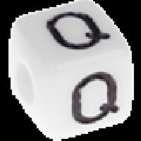 Abalorios cubos blancos abecedario 10x10 mm- 1 Unidad -Letra Q