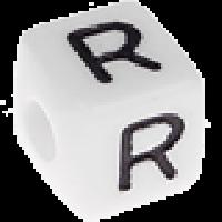 Abalorios cubos blancos abecedario 10x10 mm- 1 Unidad -Letra R
