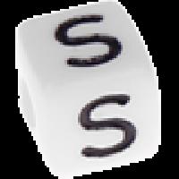 Abalorios cubos blancos abecedario 10x10 mm- 1 Unidad -Letra S