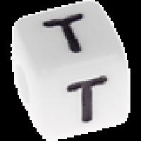Abalorios cubos blancos abecedario 10x10 mm- 1 Unidad -Letra T
