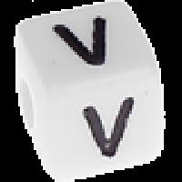 Abalorios cubos blancos abecedario 10x10 mm- 1 Unidad -Letra V
