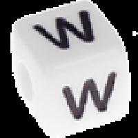 Abalorios cubos blancos abecedario 10x10 mm- 1 Unidad -Letra W