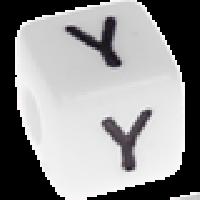 Abalorios cubos blancos abecedario 10x10 mm- 1 Unidad -Letra Y