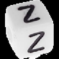 Abalorios cubos blancos abecedario 10x10 mm- 1 Unidad -Letra Z