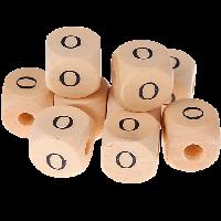 Cubo madera natural alfabeto 11x11 mm, letra O (calidad alemana)