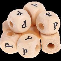 Cubo madera natural alfabeto 11x11 mm, letra P (calidad alemana)