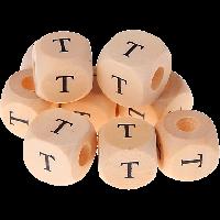 Cubo madera natural alfabeto 11x11 mm, letra T (calidad alemana)