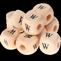 Cubo madera natural alfabeto 11x11 mm, letra W (calidad alemana)