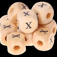 Cubo madera natural alfabeto 11x11 mm, letra X (calidad alemana)
