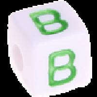 Cubo blanco abecedario 10x10 mm letras colores - Letra B